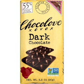 CHOCOLOVE XOXOX - DARK CHOCOLATE - NON GMO - 55% - 3.2oz