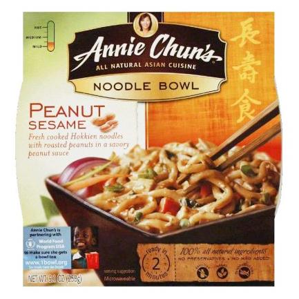 CJ - ANNIE CHUN'S - PEANUT SESAME - NOODLE BOWL - NON_GMO - VEGAN - 8.7oz