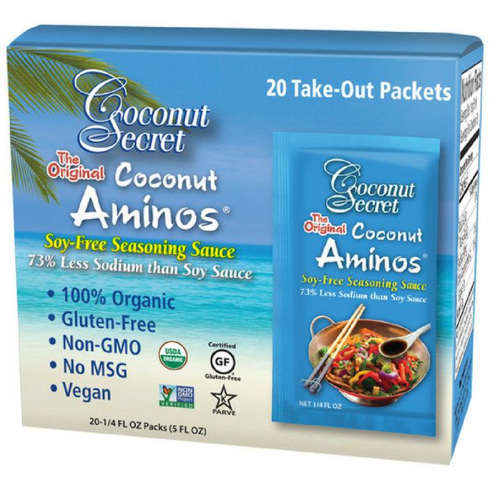 COCONUT SECRET - COCONUT AMINOS - ORGANIC - GLUTEN FREE - NON GMO - VEGAN - 20.25oz(20packs)