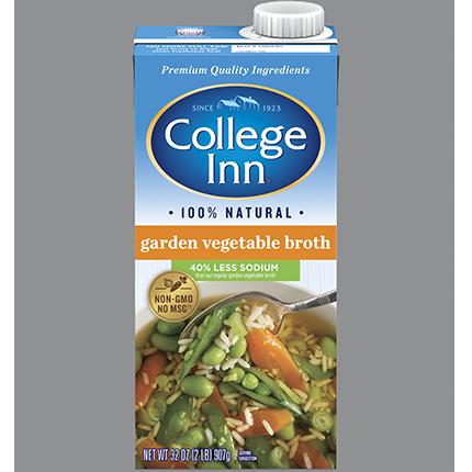 COLLEGE INN - GARDEN VEGETABLE BROTH (LOW SODIUM) - NON GMO - GLUTEN FREE - 32oz
