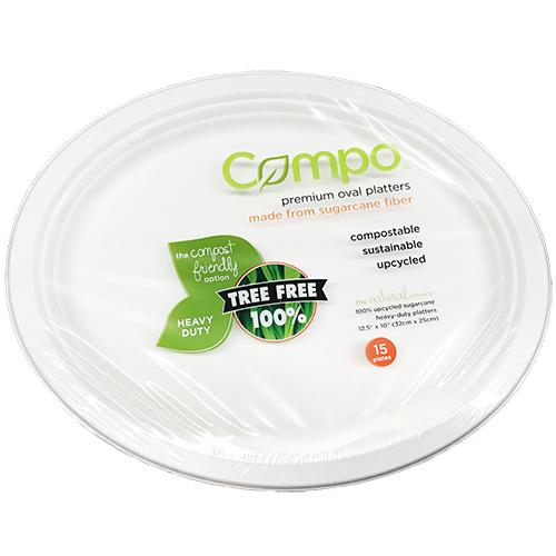 """COMPO - 12.5"""" 10"""" PREMIUM OVAL PLATTERS (Heavy Duty) - 15 PLATE0S"""