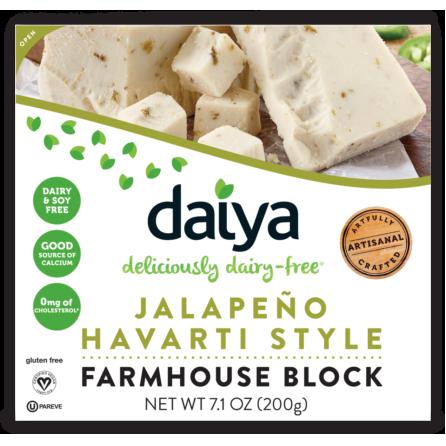 DAIYA - JALAPENO HAVARTI STYLE FARMHOUSE BLOCK - DAIRY FREE - SOY FREE - GLUTEN FREE - VEGAN - 7.1oz