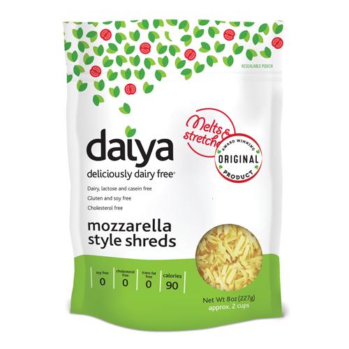 DAIYA - MOZZARELLA STYLE SHREDS CHEESE - DAIRY,LACTOSE FREE -  GLUTEN FREE - SOY FREE - 8oz