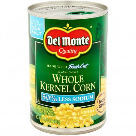 DEL MONTE - FRESH CUT WHOLE KERNEL CORN - NON GMO - (50% Less Sodium) - 15.25oz