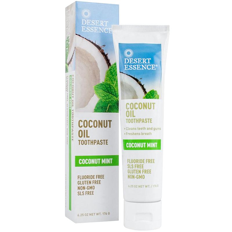 DESERT ESSENCE - COCONUT OIL TOOTHPASTE - NON GMO - GLUTEN_FREE - (Coconut Mint) - 4oz