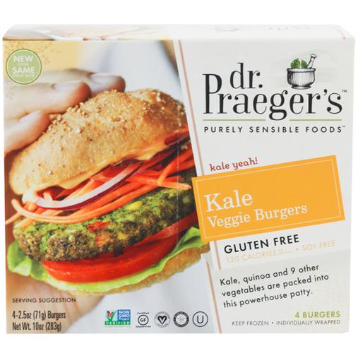 DR. PRAEGER'S - KALE VEGGIE BURGER - NON GMO - GLUTEN FREE - VEGAN - 10oz