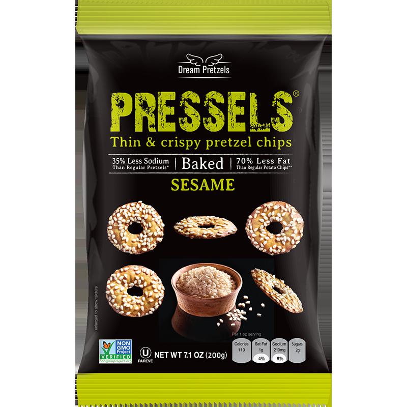 DREAM PRETZELS - PRESSELS THIN & CRISPY PRETZEL CHIPS - NON GMO - (Sesame) - 2.1oz