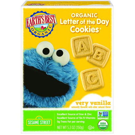 EARTH'S BEST - ORGANIC LETTER OF THE DAY COOKIES - NON GMO - (Very Vanilla) - 5.3oz