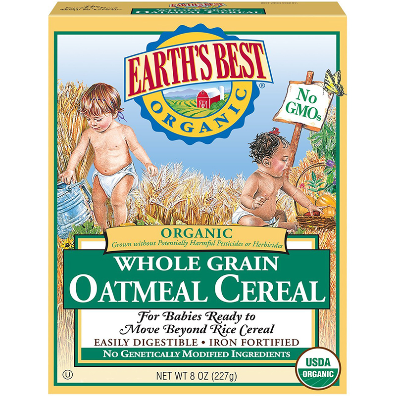 EARTH'S BEST - ORGANIC WHOLE GRAIN OATMEAL CEREAL - NON GMO - 8oz