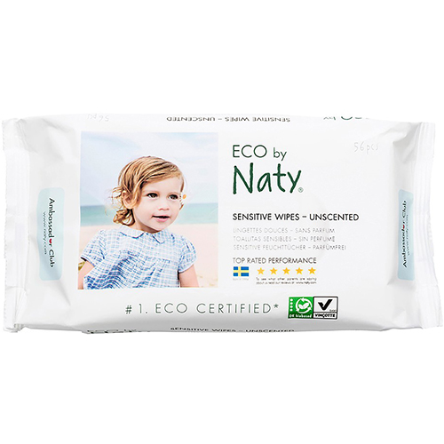 ECO BY NATY - SENSITIVE WIPES UNSCENTED - 56PCS