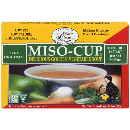 EDWARD & SONS - MISO CUP - GLUTEN FREE - VEGAN - (Delicious Golden Vegetable Soup) - 2.5oz