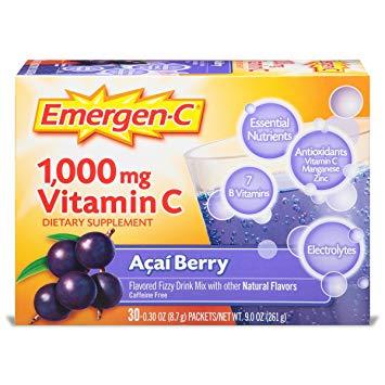 EMERGEN-C - 1000MG VITAMIN C   DIETARY SUPPLEMENT - (Acai Berry) - 30PCS 9oz