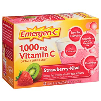 EMERGEN-C - 1000MG VITAMIN C | DAILY IMMUNE SUPPORT - (Strawberry Kiwi) - 30PCS 9oz