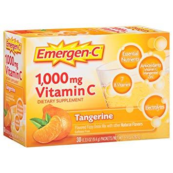EMERGEN-C - 1000MG VITAMIN C | DIETARY SUPPLEMENT - (Tangerine) - 30PCS 9oz