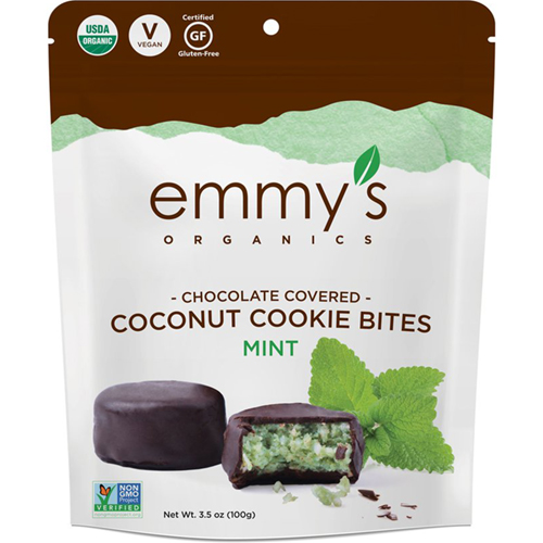 EMMY'S - CHOCOLATE COVERED COCONUT COOKIE BITES - (Mint) - 3.5oz