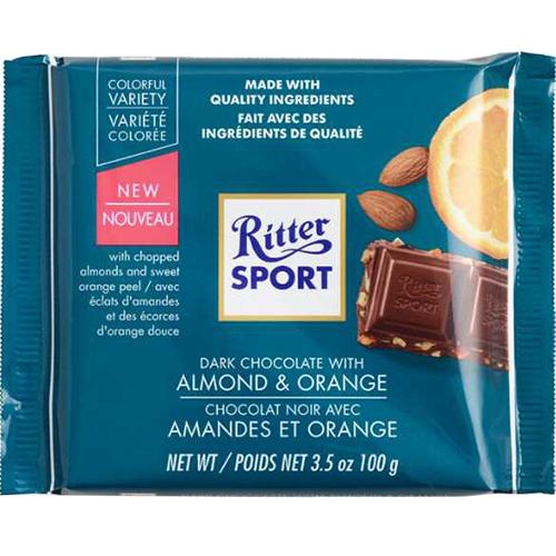 RITTER SPORT - DARK CHOCOLATE - (Almond & Orange) - 3.5oz