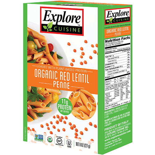 EXPLORE CUISINE - LOADED /W PLANT - BASED PROTEIN - (Red Lentil Penne) - 8oz