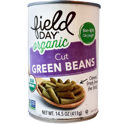 FIELD DAY - ORGANIC CUT GREEN BEANS - NON GMO - VEGAN - 16oz