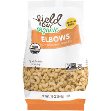 FIELD DAY - ORGANIC ELBOWS - NON GMO - Gluten Free - VEGAN - (Whole Grain Brown Rice) - 16oz