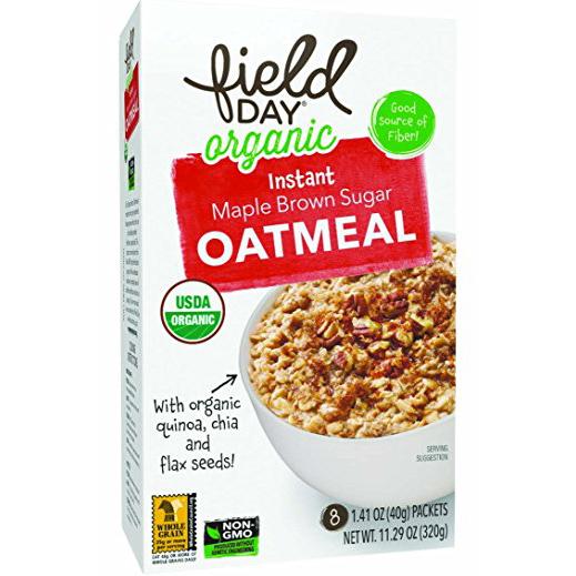 FIELD DAY - ORGANIC INSTANT OATMEAL - NON GMO - (Maple Brown Sugar) - 11.29oz