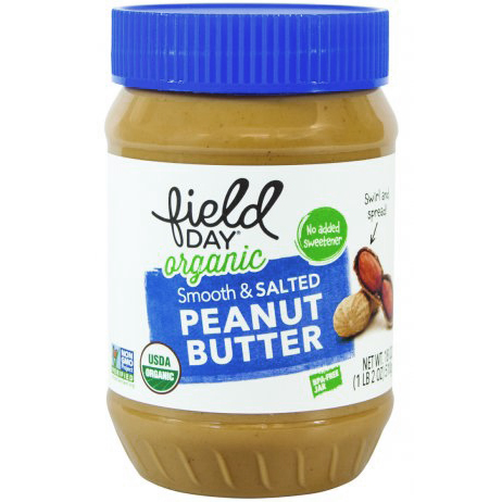 FIELD DAY - ORGANIC SMOOTH & SALTED PEANUT BUTTER - NON GMO - 18oz