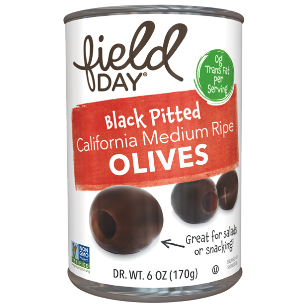 FIELD DAY - BLACK PITTED OLIVES - NON_GMO - 6oz