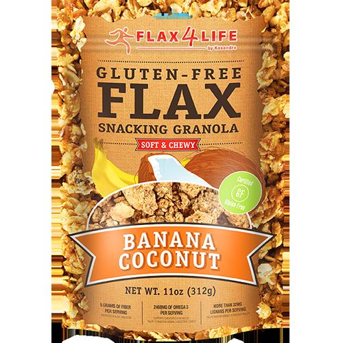 FLAX 4 LIFE - GLUTEN FREE FLAX SNACKING GRANOLA - (Banana Coconut) - 11oz