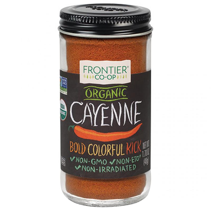 FRONTIER CO-OP - ORGANIC CAYENNE - NON GMO - NON ETO - NON IRRADIATED - 1.70oz