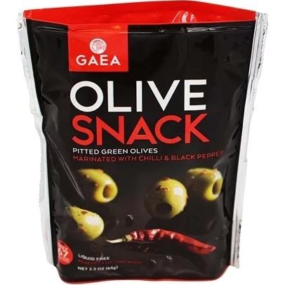 GAEA - OLIVE SNACK - (Snack Pitted Green Olives with Chili & Black Pepper) - 2.3oz