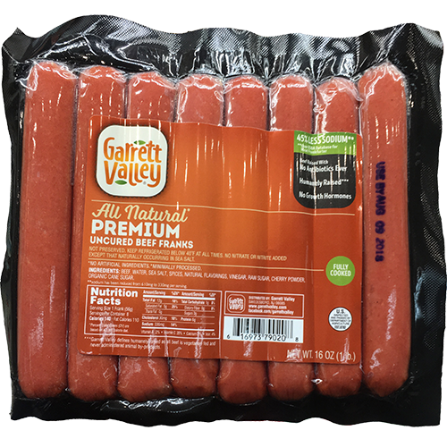 GARRETT VALLEY - ALL NATURAL PREMIUM UNCURED BEEF FRANKS - 16oz
