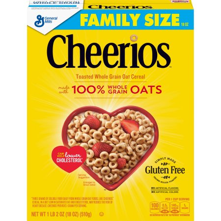 GENERAL MILLS - CHEERIOS TOASTED WHOLE GRAIN OAT CEREAL - GLUTEN FREE - 18oz