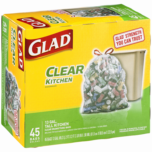 GLAD - CLEAR KITCHEN 13 GAL TALL KITCHEN - 42 BAGS