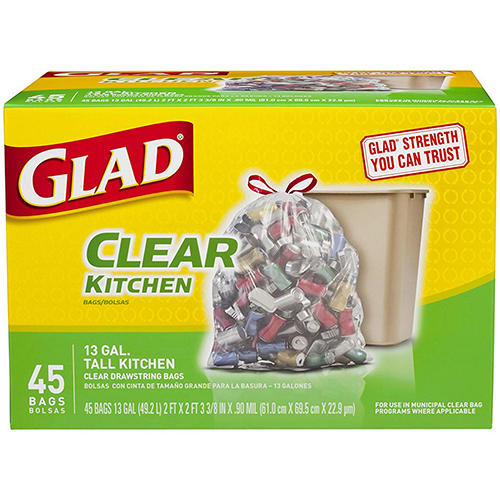 GLAD - CLEAR KITCHEN 13 GAL TALL KITCHEN (Clear Drawstring Bag) - 45 BAGS