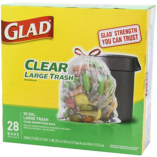 GLAD - CLREAR LARGE TRASH 30 GAL (Clear Drawstring Bag) - 28 BAGS