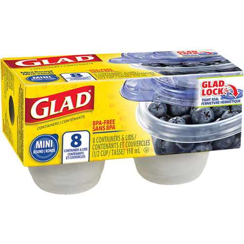 GLAD - CONTAINERS - (Mini Round) - 8 Containers
