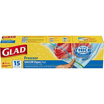GLAD - EXTRA THICK & DURABLE FREEZER GALLON ZIPPER - 15 BAGS