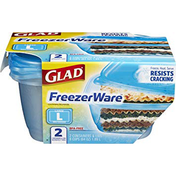 GLAD - FREEZER WARE LARGE RECTANGLE - 62oz 2 Containers&Lids