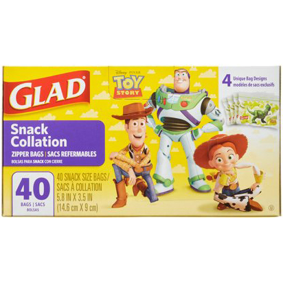 GLAD - SNACK COLLATION ZIPPER BAGS - 40 BAGS