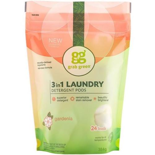 GRAB GREEN - 3 IN 1 LAUNDRY DETERGENT PODS - (Gardenia) - 24LOADS