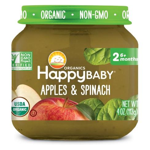 HAPPY BABY - STAGE 2 - NON GMO - (Apples & Spinach) - 4oz