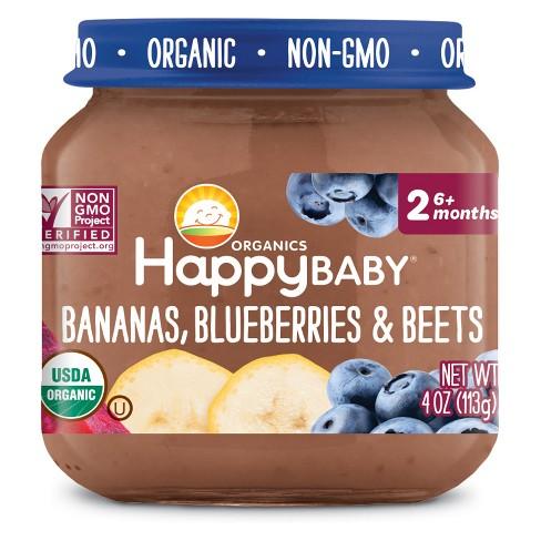 HAPPY BABY - STAGE 2 - NON GMO - (Bananas, Blueberries & Beets) - 4oz