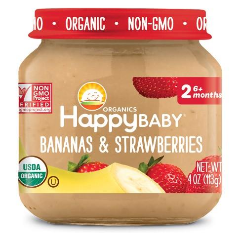 HAPPY BABY - STAGE 2 - NON GMO - (Bananas & Strawberries) - 4oz