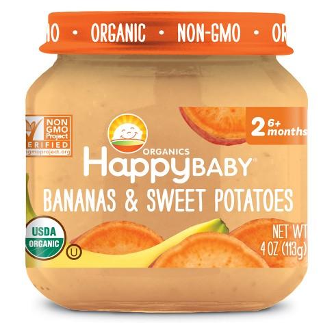 HAPPY BABY - STAGE 2 - NON GMO - (Bananas & Sweet Potatoes) - 4oz