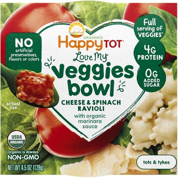 HAPPY TOT - LOVE MY VEGGIES BOWL - NON GMO - (Chesse & Spinach Ravioli /w Marinara Sauce) - 4.5oz