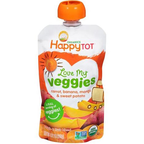 HAPPY TOT - LOVE MY VEGGIES - NON GMO - (Carrots, Bananas, Mangos & Sweet Potatoes) - 4.22oz