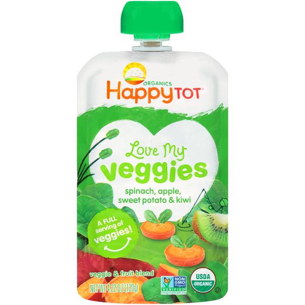 HAPPY TOT - LOVE MY VEGGIES - NON GMO - (Spinach, Apples, Sweet Potatoes & Kiwi) - 4.22oz
