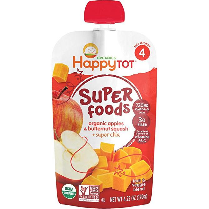 HAPPY TOT - SUPER FOODS - NON GMO - (Organic Apple & Butternut Squash + Chia) - 4.22oz