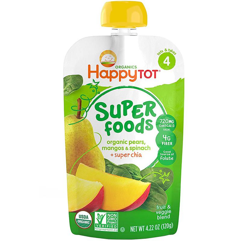 HAPPY TOT - SUPER FOODS - NON GMO - (Organic Pears, Mangos & Spinach + Chia) - 4.22oz