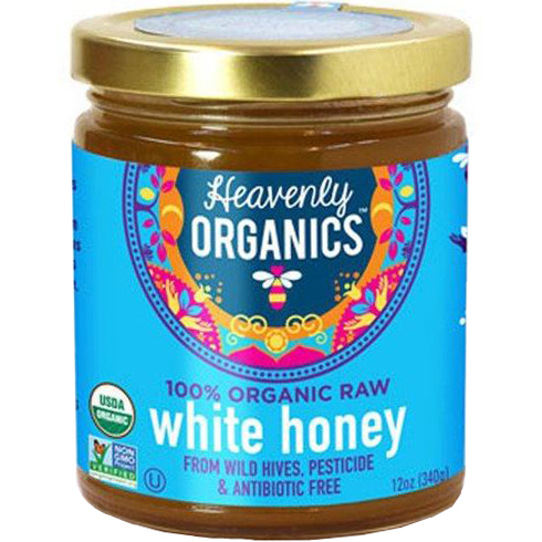 HEAVENLY ORGANICS - 100% ORGANIC RAW WHITE HONEY - 12oz