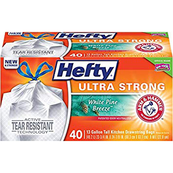 HEFTY - TWIST TIE 13 GAL. TALL KITCHEN DRAWSTRING BAGS - (White Pine Breeze) - 40 BAGS